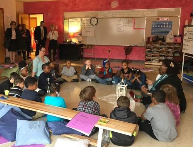 Officials visit Maupin Elementary School on Monday, Dec. 5, 2016. (Photo by Toni Konz, WDRB News)