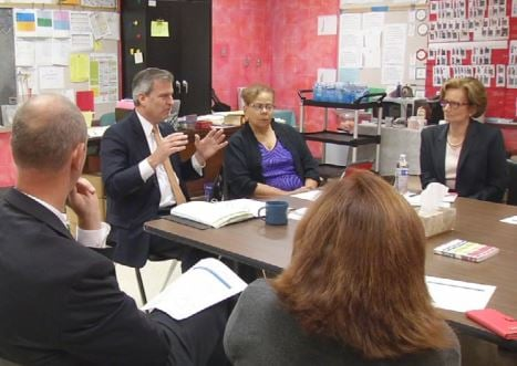 Kentucky Education and Workforce Development Secretary Hal Heiner met with JCPS leaders at Maupin Elementary School on Monday.
