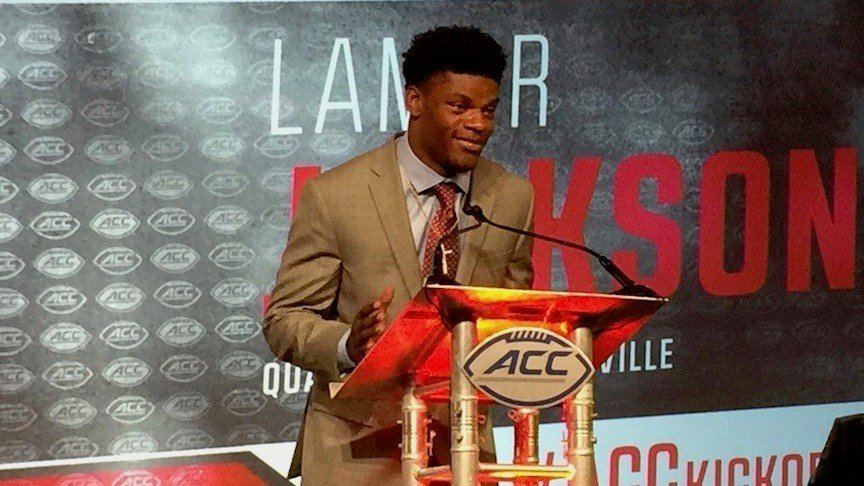 Lamar Jackson speaks to reporters at ACC Media Day in August. (WDRB photo by Eric Crawford)