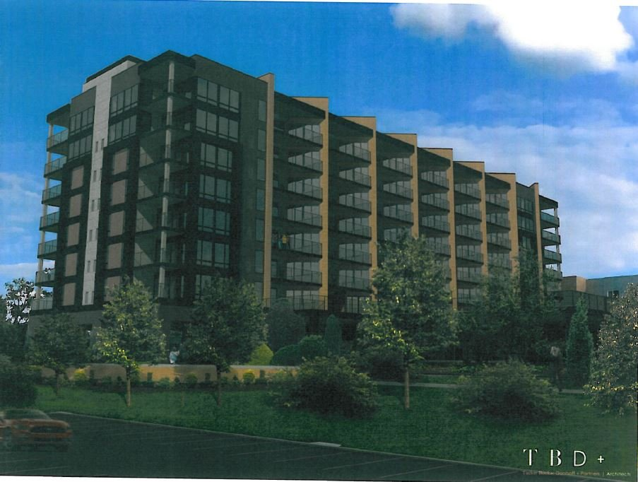 Rendering of seven-story apartment building proposed at RiverPark Place (Waterfront Development Corp.)