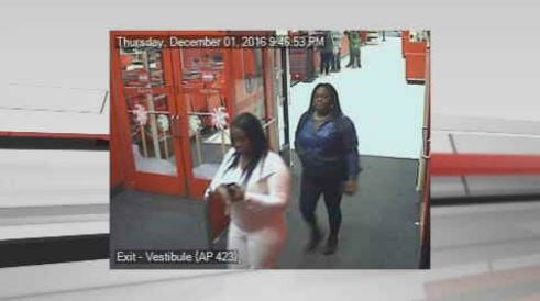 Police say this surveillance video shows two ladies stealingcredit cards from purses at the mall and using them atstores like Target.
