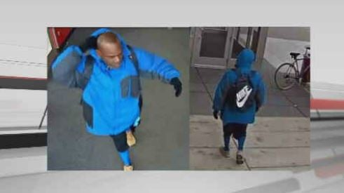 Police say video captured a suspectloadinghis backpack at a local grocery store.