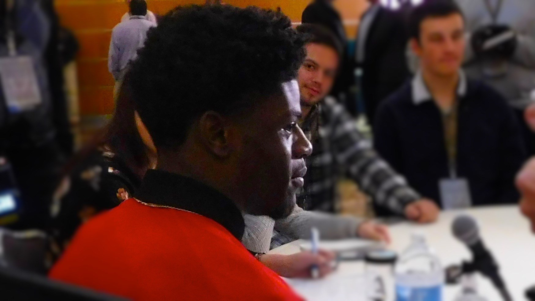Lamar Jackson speaks with reporters in New York. (WDRB photo by Eric Crawford)
