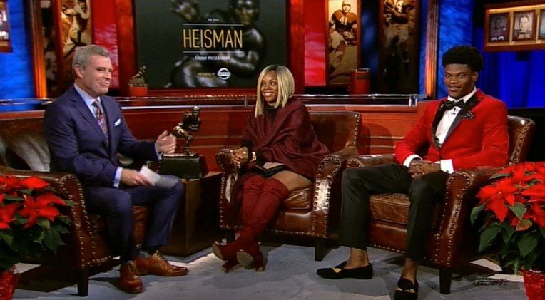 Felicia Jones, the mother of Lamar Jackson, talks with ESPN's Tom Rinaldi during the Heisman trophy presentation. (Photo courtesy ESPN)