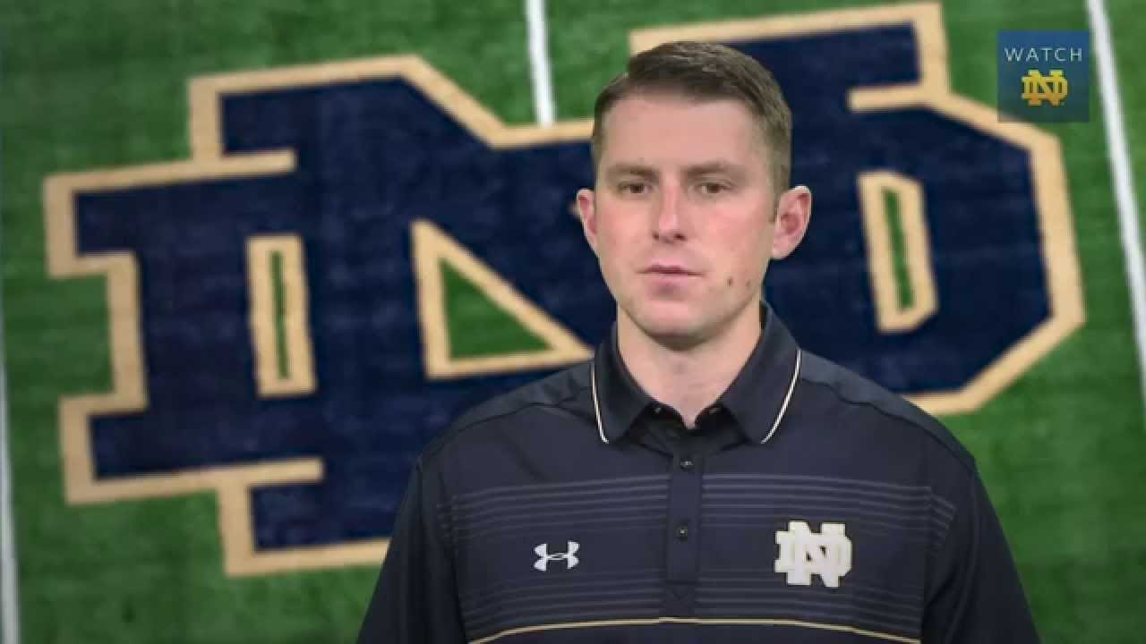Notre Dame offensive coordinator Mike Sanford Jr. will be the next WKU football coach. (Credit Notre Dame photo.)