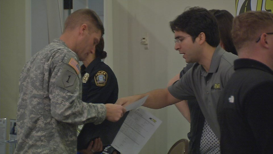 Active duty military and veterans attend job fair at Fort Knox Wednesday.