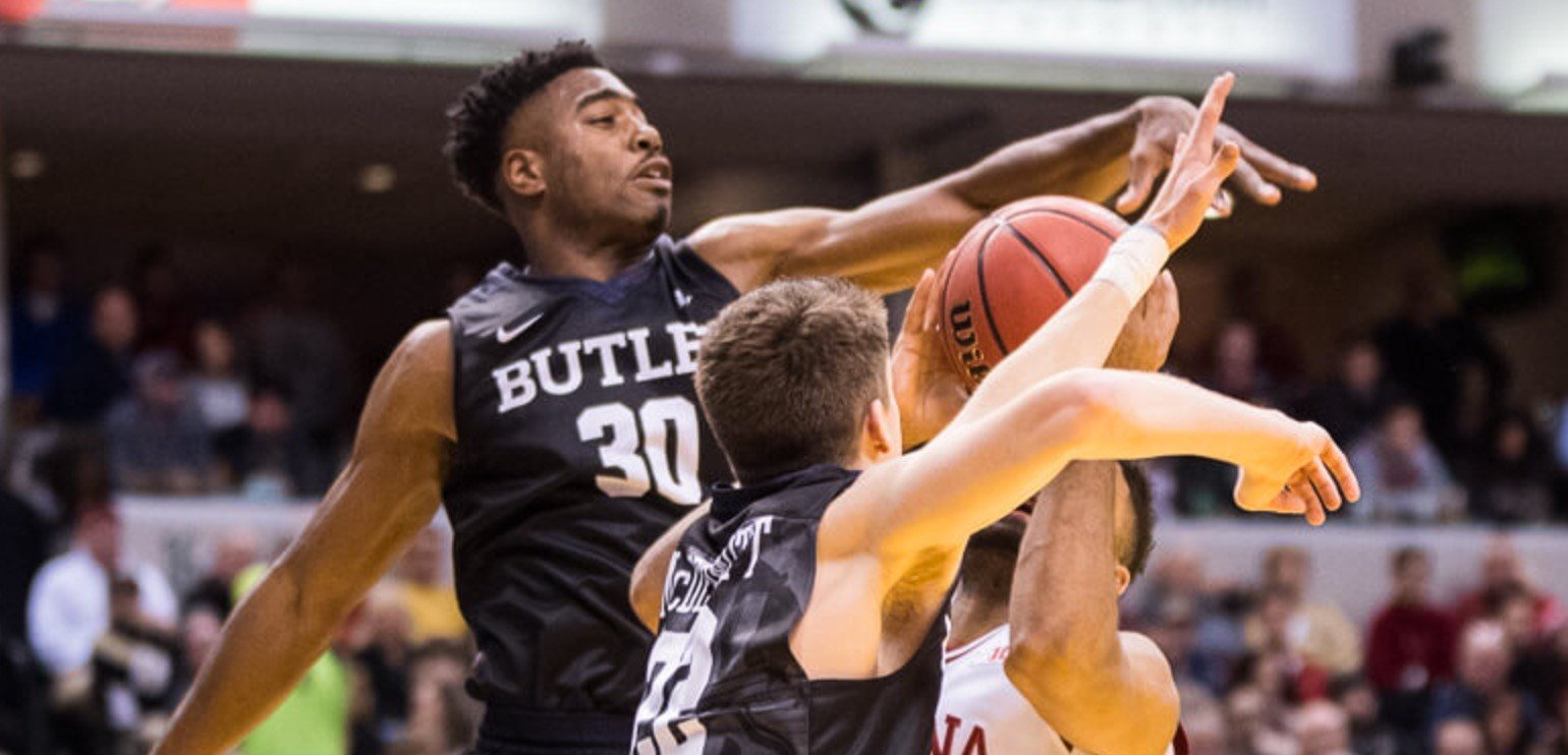 Butler's Kelan Martin (30) blocked a shot by Indiana's James Blackmon Saturday. (Jamie Owens photo)