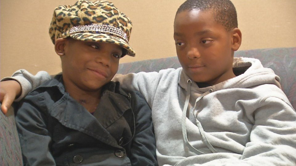 Vanessa Levros and her brother, Joc Fields. Both were hit by an SUV that ran them over as they waited at their JCPS bus stop on Oct. 20, 2016. (Photo by Toni Konz, WDRB News)