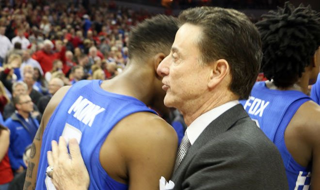 Louisville coach Rick Pitino has a word for Kentucky's Malik Monk after the Cardinals' victory Wednesday. (WDRB photo by Jacob Davis)