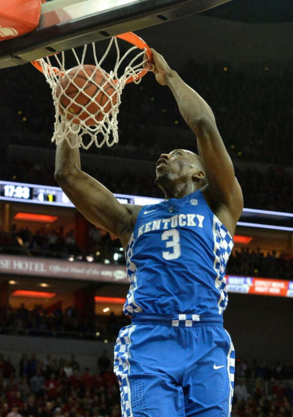 Kentucky's Bam Adebayo slams home two of his 11 points. (AP photo by Timothy Easley)