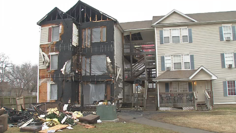 Three families are displaced by a fire on Christmas morning at an apartment complex on Northwestern Parkway.