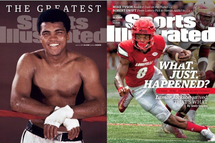 Sports Illustrated covers in 2016 for Muhammad Ali and Lamar Jackson.