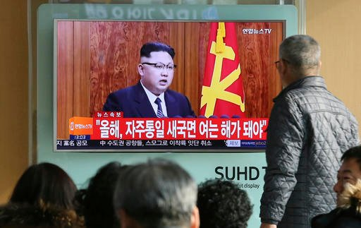 (AP Photo/Ahn Young-joon). South Koreans watch a TV news program showing North Korean leader Kim Jong Un's New Year's speech, at the Seoul Railway Station in Seoul, South Korea, Sunday, Jan. 1, 2017.
