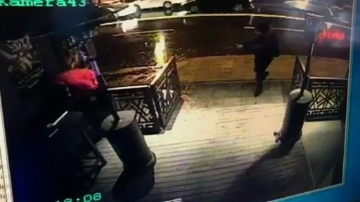 (CCTV/Haberturk Newspaper via AP). This image taken from CCTV provided by Haberturk Newspaper Sunday Jan. 1, 2017 shows the attacker, armed with a long-barrelled weapon, shooting his way into the Reina nightclub in Istanbul, Turkey on Sunday morning.