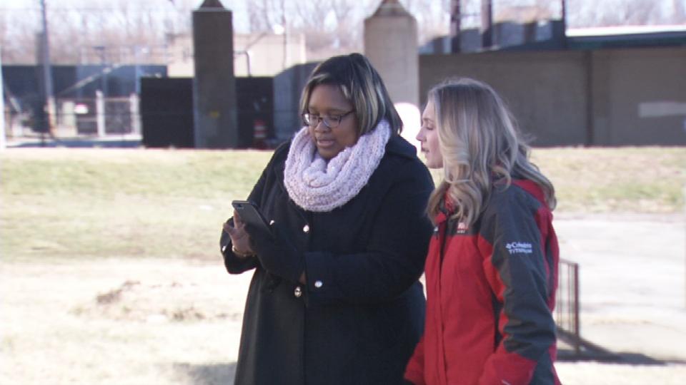 Mellanie Murphy shows reporter Hayden Ristevski what the thieves stole.