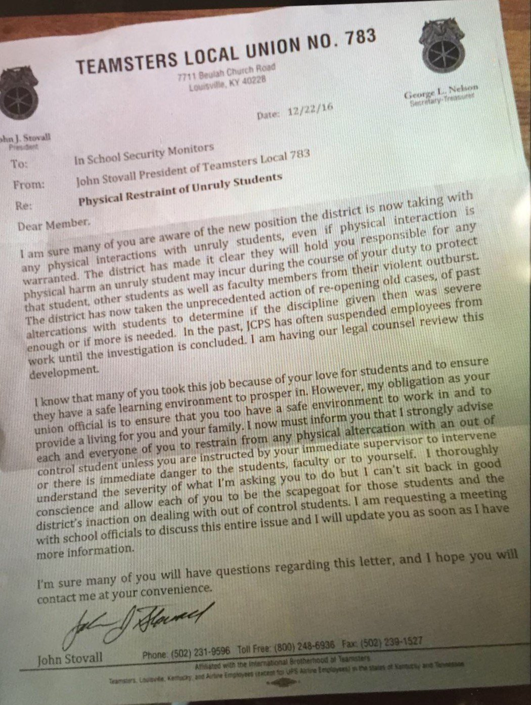 Copy of the Dec. 22 letter that Stovall sent to JCPS security monitors.