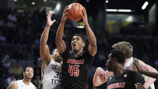Donovan Mitchell goes up for a shot in Saturday's 65-50 win at Georgia Tech. (AP photo)