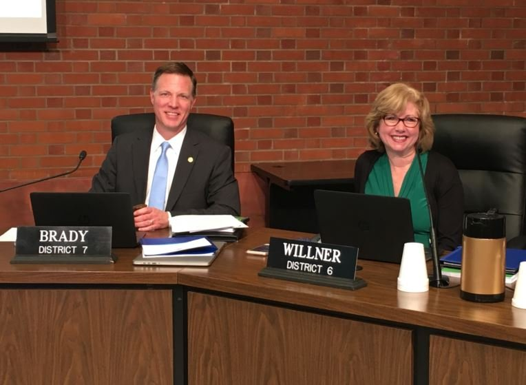 Chris Brady was elected chairman of the JCPS school board on Tuesday, while Lisa Willner was elected to vice-chairwoman (Photo by Toni Konz, WDRB News)