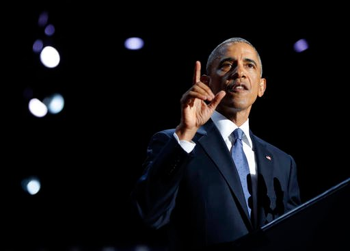 (AP Photo/Pablo Martinez Monsivais). President Barack Obama speaks during his farewell address at McCormick Place in Chicago, Tuesday, Jan. 10, 2017.