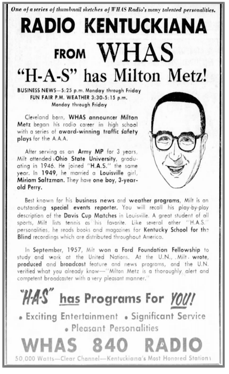 A 1958 WHAS advertisement in The Courier-Journal promotes Milton Metz. (Courier-Journal archive)