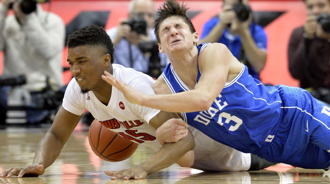 This Donovan Mitchell steal from Duke's Grayson Allen stirred a second-half surge by Louisville. (AP Photo.)