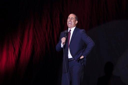 (AP Photo/Dan Balilty, File). FILE - In this Dec. 19, 2015, file photo, Jerry Seinfeld performs at Menora Stadium in Tel Aviv, Israel.