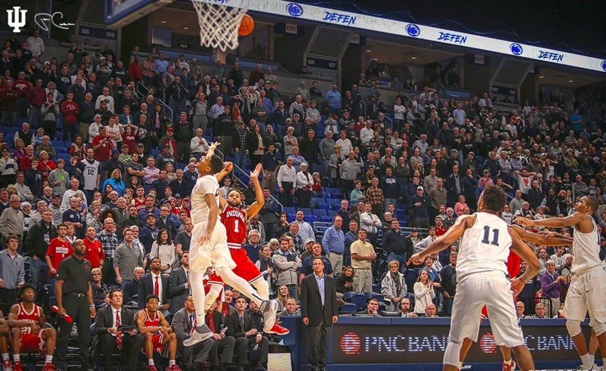 James Blackmon made this game-winning shot at Penn State Wednesday (Indiana University photo).