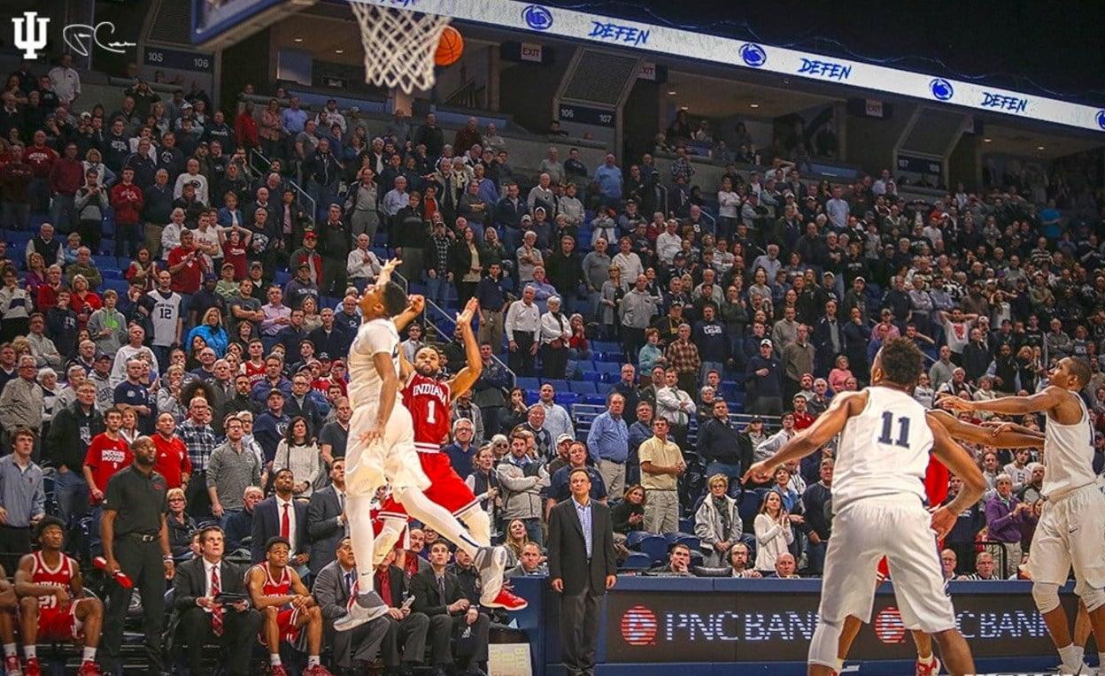 James Blackmon made this game-winning shot at Penn State Wednesday (Indiana University photo).