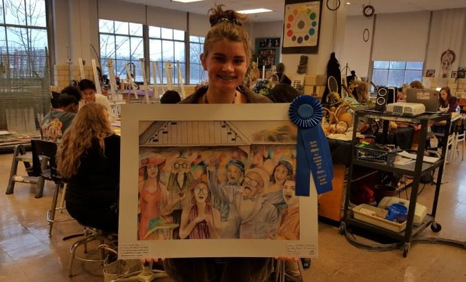 "Addie Clark, a sophomore at duPont Manual High School, won the 2017 ""Horsing Around With Art"" contest at the Kentucky Derby Museum. (Photo courtesy of duPont Manual High)"