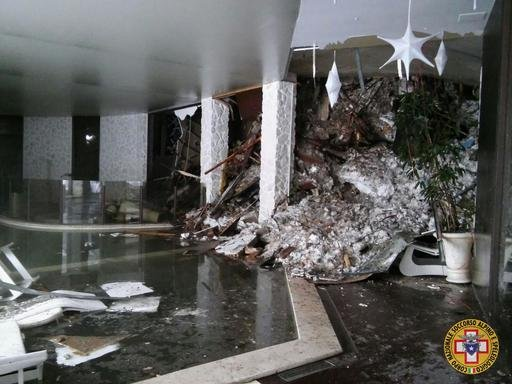 (CNSAS) via AP). The interior of the Rigopiano Hotel is destroyed by an avalanche in Farindola, Italy, early Thursday, Jan. 19, 2017.