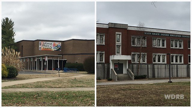 Crosby Middle School (left) and Jaegar Education Center (right). WDRB file photos