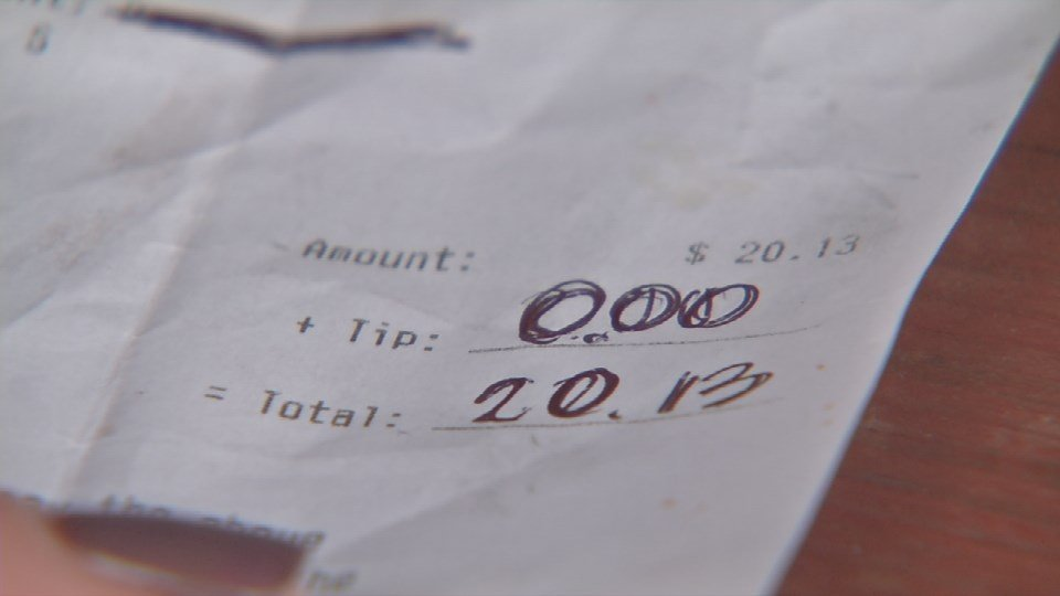 The receipt a customer left Kyle Griffith without a tip.