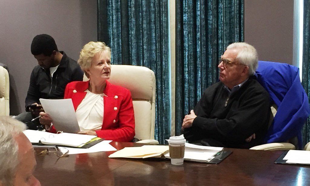 University of Louisville Foundation Chairwoman Diane Medley, left, and U of L board of trustees Chairman J. David Grissom at a meeting Jan. 24, 2017.