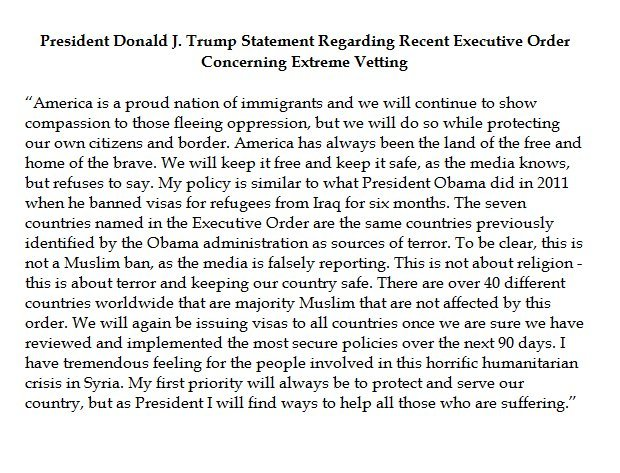 President Trump's statement defending his orders. (Courtesy: Fox News)