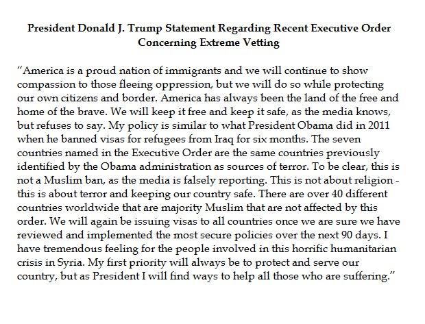 President Trump's statement defending his orders. (Courtesy: Fox News)