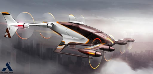 (Airbus via AP). This artist rendering provided by Airbus shows a vehicle in its flying car project, Vahana.