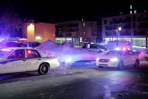 (Francis Vachon/The Canadian Press via AP). Police survey the scene after deadly shooting at a mosque in Quebec City, Canada, Sunday, Jan. 29, 2017.