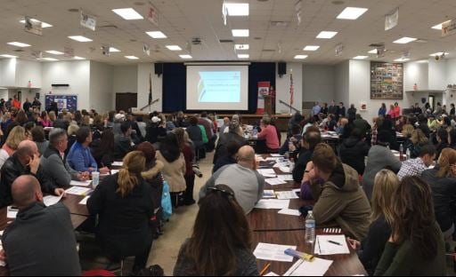 Parents packed into a meeting about overcrowding at Crosby Middle School on Monday night (Photo by Toni Konz, WDRB News)