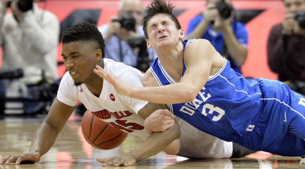 Duke's Grayson Allen (right) was the pre-season frontrunner for ACC Player of the Year, but he's been overtaken by Louisville's Donovan Mitchell. (AP photo.)