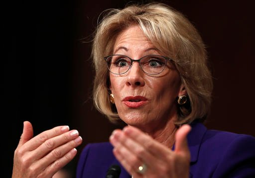 (AP Photo/Carolyn Kaster, File). FILE - In this Jan. 17, 2017, file photo, Education Secretary-nominee Betsy DeVos testifies on Capitol Hill in Washington.