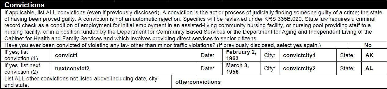 The old job application form asked about convictions