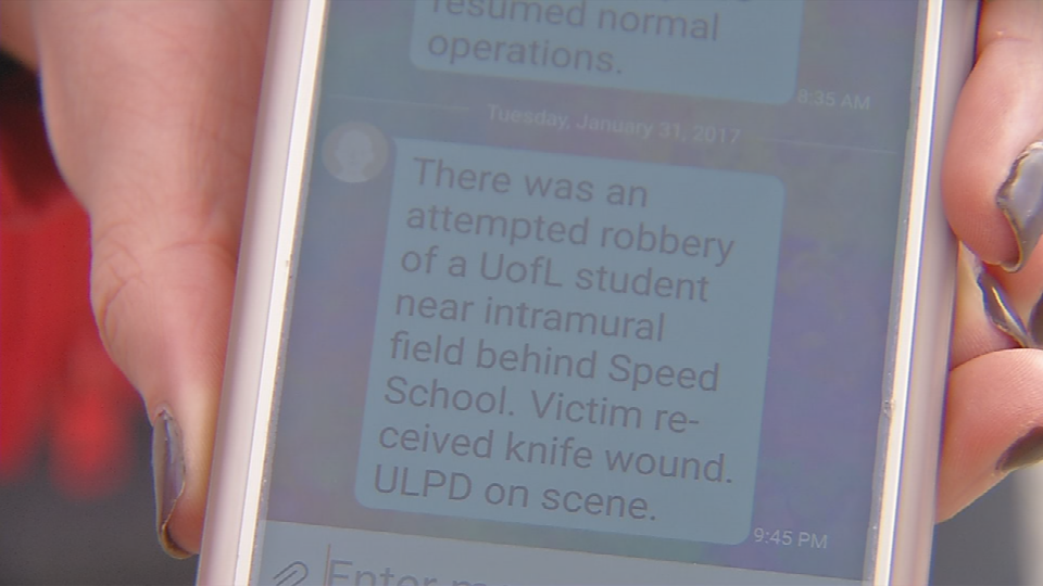 The text alert UofL students got around 9:45 p.m. Tuesday after the incident.