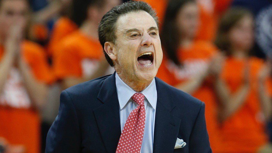 Rick Pitino shouts to his Louisville team during a 22-point loss at Virginia to end last season. (AP photo)