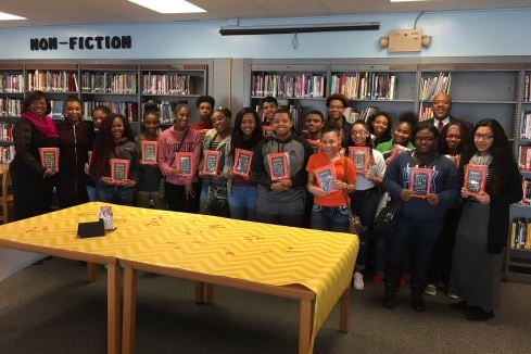This group of Central High School sophomores received e-books on Thursday from a Louisville couple who owns a small business (Photo by Toni Konz, WDRB News)