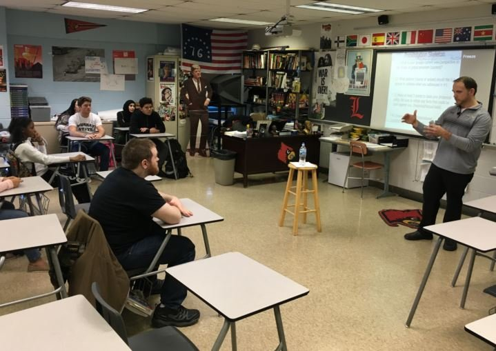 Travis Burden teaches a social studies class at Fairdale High School on Thursday, Feb. 9, 2016 (Photo by Toni Konz, WDRB News)