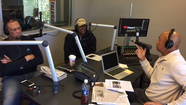 Former U of L players Butch Beard (left) and Jerry Eaves (right) questioned the need of a public apology by two U of L players. George Williams joined them on Eaves' radio show Monday.