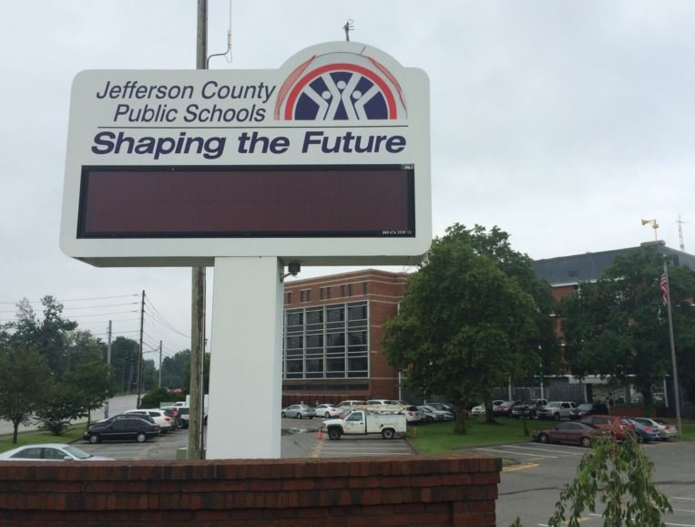 The old JCPS sign in front of central office (WDRB News file photo)