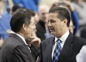 The path is open for Rick Pitino (left) and John Calipari to lead Louisville and Kentucky to conference titles.