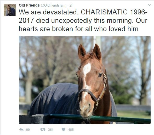 Old Friends Farm took to Twitter to announce the death of Charismatic.