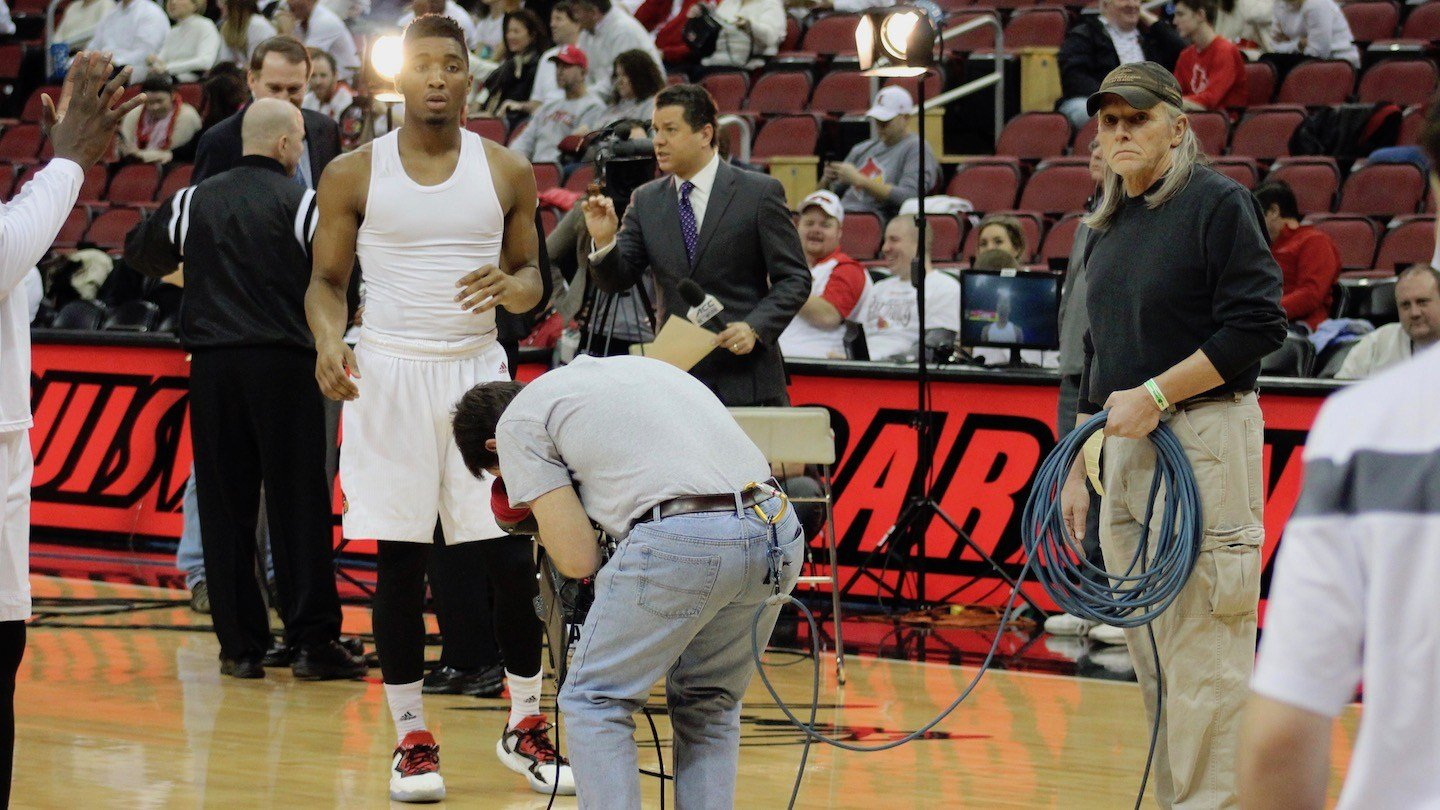 Donovan Mitchell finds himself in the spotlight as a sophomore. (WDRB photo by Eric Crawford)